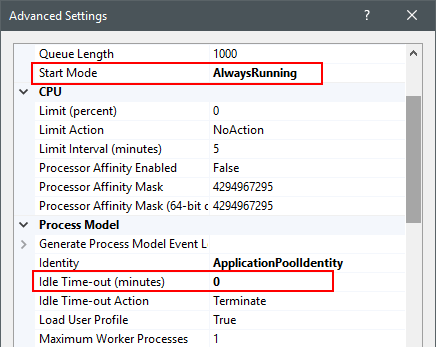 Setting ASP NET application on IIS always running with
