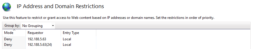 Setting IP address and domain filtering in IIS using