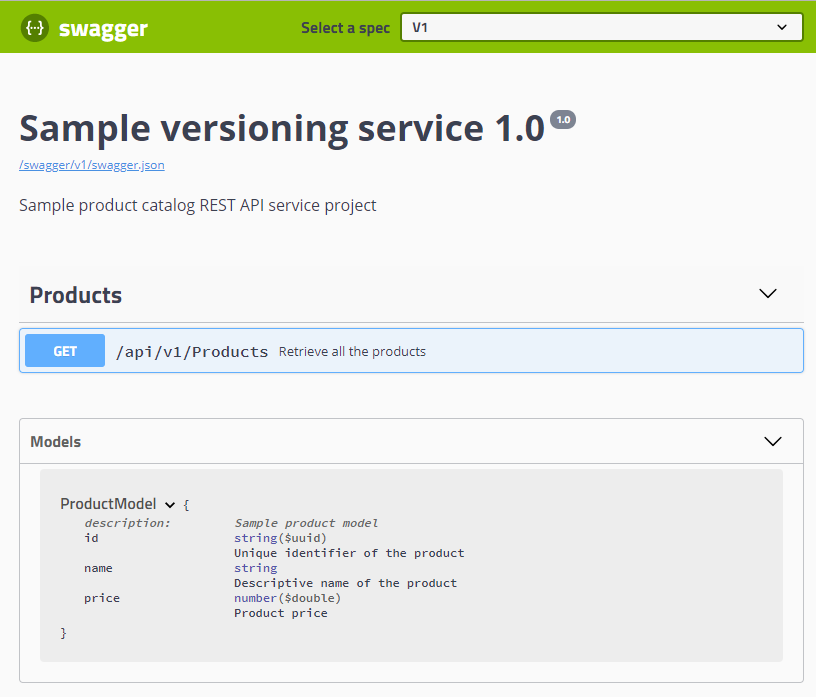 Setting up Swagger to support versioned API endpoints in ASP