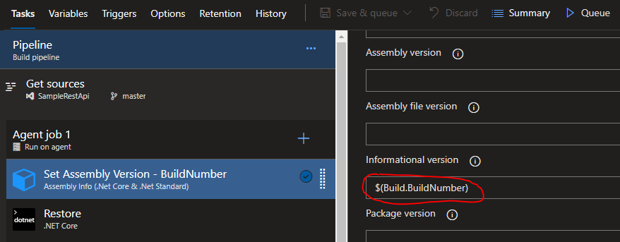 Azure Pipeline Assembly Info