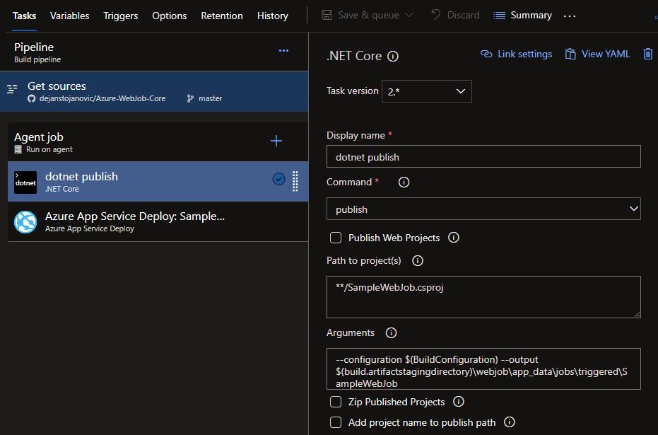 Deploying  NET Core WebJobs to Azure using Azure Build Pipeline