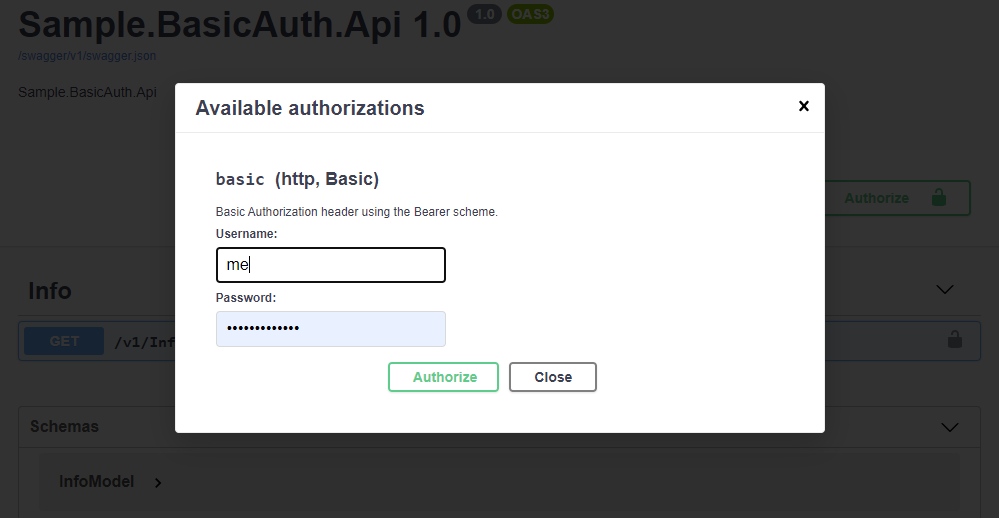 Basic Auth Swagger Auth Dialog